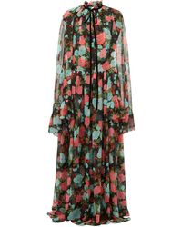 Erdem - Odette Floral-print Cape-sleeve Silk Gown - Lyst