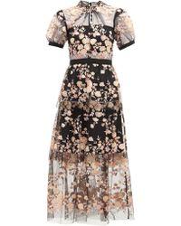 Self-Portrait Floral Sequin Embellished Tulle Midi Dress - Black