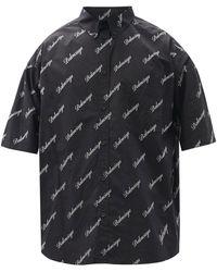 Balenciaga ショートスリーブ コットンポプリンシャツ - ブラック