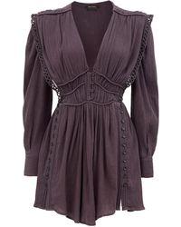 Isabel Marant - Chandler Corduroy Mini Dress - Womens - Pink - Black