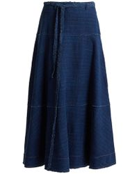 Elizabeth and James Leila A Line Denim Skirt - Blue