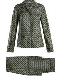 Prada - Geometric Print Silk Pyjama Set - Lyst