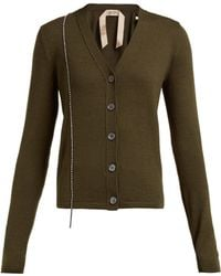 N°21 Crystal Embellished Wool Blend Cardigan - Green