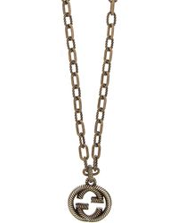 Gucci - Interlocking G Necklace With Pendant - Lyst