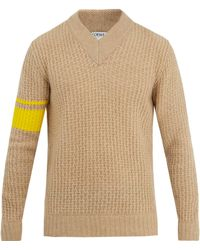 Loewe Striped-detail Wool-blend Jumper - Natural