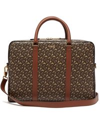 Burberry Ainsworth Tb-monogram Coated-canvas Briefcase - Brown