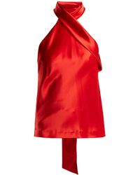 Galvan London Halterneck Satin Top - Red