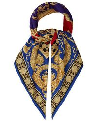 Versace - Baroque And Leopard Print Silk Twill Scarf - Lyst