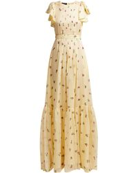 Rochas - Pleated Floral-print Silk-georgette Gown - Lyst