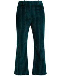 Altuzarra Adler Cropped Corduroy Pants - Green