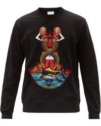 Burberry マーメイドエンブロイダリー コットンスウェットシャツ - ブラック