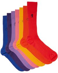 London Sock Company トラディショナル バンドル コットンブレンドソックス X7 - マルチカラー