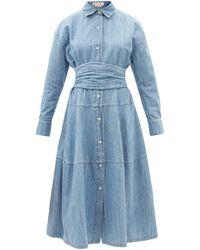 Marni コットンブレンドシャンブレー シャツドレス - ブルー