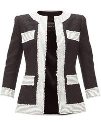 Andrew Gn Fitted Contrast Tweed Jacket - Black