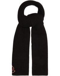 Moncler リブ ウールカシミアスカーフ - ブラック
