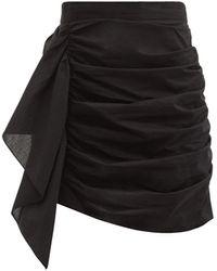 RHODE Hannah Ruched Cotton Mini Skirt - Black