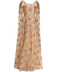 Luisa Beccaria | Scoop-neck Floral-embroidered Tulle Gown | Lyst