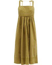 PROENZA SCHOULER WHITE LABEL エンパイアウエスト コットンキャンバスドレス - グリーン