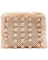 Shrimps | Graham Faux Pearl-embellished Faux-fur Pouch | Lyst
