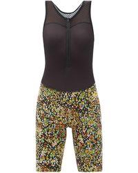 Café du Cycliste Capucine Floral-print Bib Shorts - Black