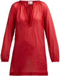 Marios Schwab Floreana V-neck Cotton Tunic - Red