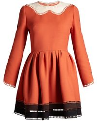 Fendi - Wave-neck Jour-échelle Trimmed Dress - Lyst