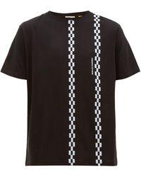 7 MONCLER FRAGMENT チェックストライプ コットンtシャツ - ブラック