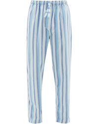 Derek Rose Arctic Striped Cotton Pyjama Pants - Blue