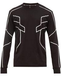 Neil Barrett Geometric Print Cotton Jersey Long Sleeved T Shirt - Black