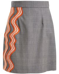 House of Holland - Checked Wave-appliqué Wool Skirt - Lyst