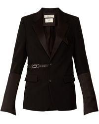 Bottega Veneta サテントリムベルテッドウール シングルジャケット - ブラック