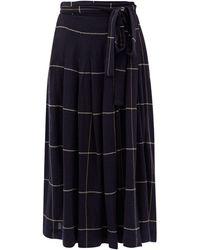 Three Graces London ジェサミナ チェックツイル プリーツスカート - ブルー