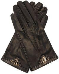 Prada - Logo Plaque Leather Gloves - Lyst
