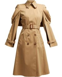 Alexander McQueen Shell-sleeve Cotton-gabardine Trench Coat - Natural