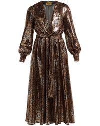 MSGM Robe en sequins à motif léopard et ceinture - Marron