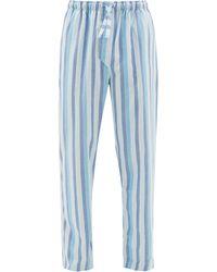 Derek Rose Pantalon de pyjama en coton rayé Arctic - Bleu