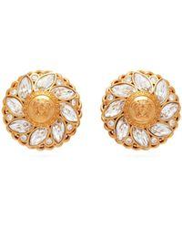 Versace - Medusa Flower Crystal Clip Earrings - Lyst