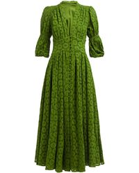 Cult Gaia Willow Puff-sleeve Eyelet-lace Maxi Dress - Green