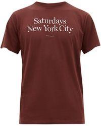 Saturdays NYC T-shirt en coton à imprimé logo Miller - Marron