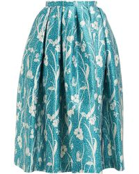 Rochas - Floral Brocade Pleated Skirt - Lyst