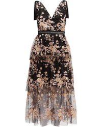Self-Portrait Midnight Floral Embellished Dress - Black