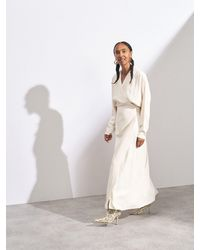 Raey Dolman-sleeve Side-split Wrap Dress - Natural