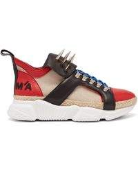 Marques'Almeida Spike-tongue Leather High-top Trainers - Red