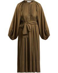 Apiece Apart - Femek Pintucked Twill Midi Dress - Lyst