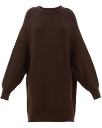 Raey Oversized Crew-neck Ribbed-wool Jumper - Brown