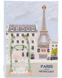 Olympia Le-Tan Paris Metro Guide ブラッククラッチバッグ - ブルー