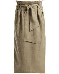 Gabriela Hearst - Jordan Paperbag-waist Linen Pencil Skirt - Lyst