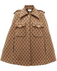 Gucci GG-jacquard Wool Cape - Multicolour