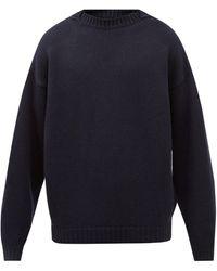 Fear Of God Overlapped-neckline Wool Sweater - Blue