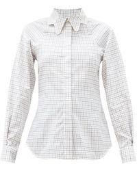 Victoria Beckham - バタフライカラー チェックコットンシャツ - Lyst
